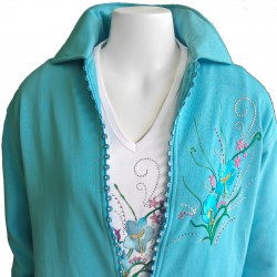 Aqua Flower Rhinestone Zipper Cardigan
