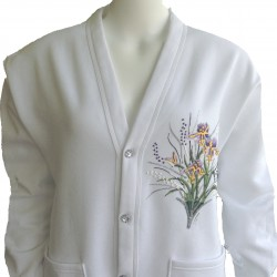 Iris Flower Rhinestone Button Cardigan