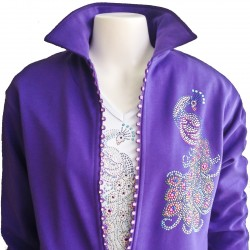 Peacock Rhinestone Zipper Cardigan