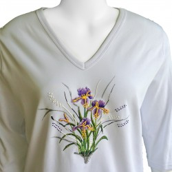 Iris Flower 3/4 Sleeve V-Neck Shirt