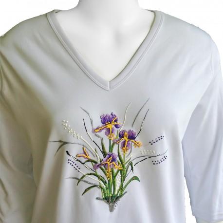Iris Flower 3/4 Sleeve V-Neck Shirt