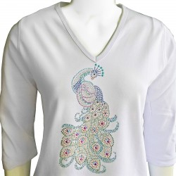 Peacock 3/4 Sleeve V-Neck Shirt