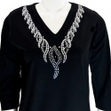 Silver Lace 3/4 Sleeve V-Neck Shirt