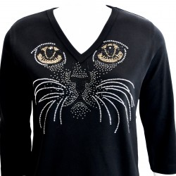 Cat Face 3/4 Sleeve V-Neck Shirt