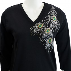 Pheasant 3/4 Sleeve V-Neck Shirt