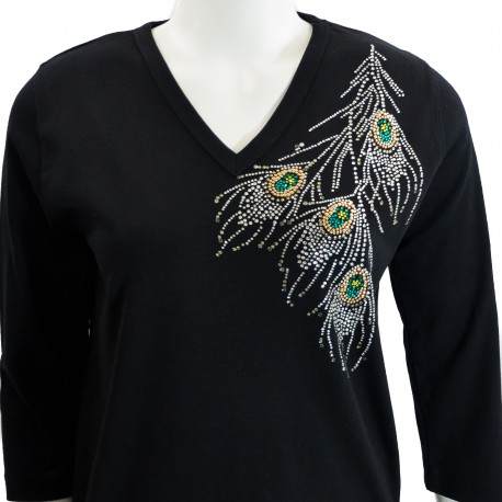 Pheasant 3/4 Sleeve V-Neck Shirt