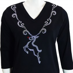Silver Reindeer 3/4 Sleeve V-Neck Shirt