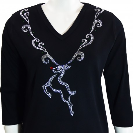 Reindeer Pendent 3/4 Sleeve V-Neck Shirt