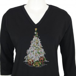 Xmas Tree 3/4 Sleeve V-Neck Shirt