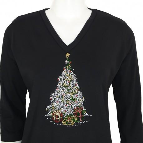 Xmas Tree 3/4 Sleeve V-Neck Shirt