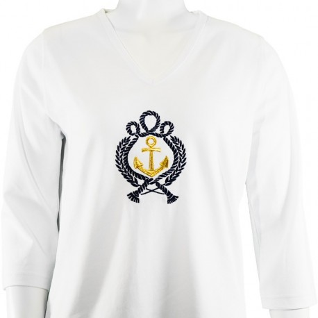Nautical Anchor 3/4 Sleeve V-Neck Shirt