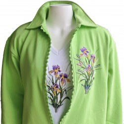 Iris Flower Rhinestone Zipper Cardigan